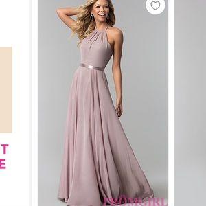 A-Line High-Neck Chiffon Formal Long Prom Dress